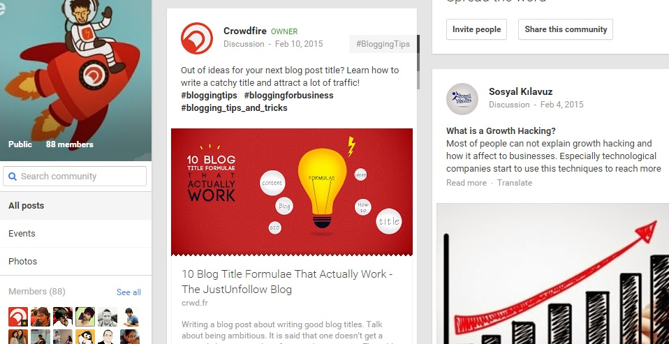 CrowdFire has used Google+ platform to build an active community