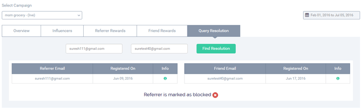 Scenario: When the referrer's email id is blocked
