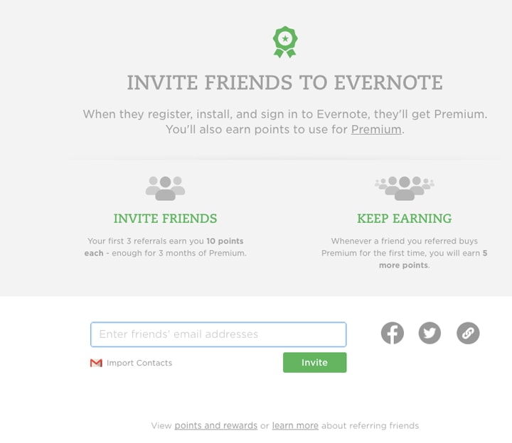dedicated refer and earn page by Evernote