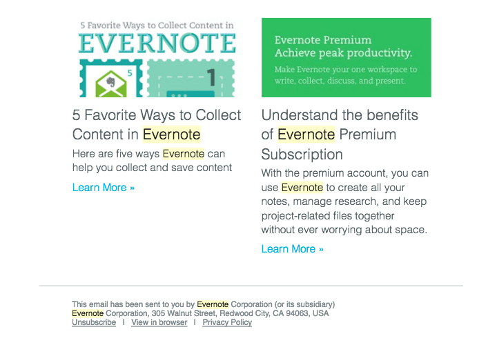 Evernote send valuable product updates to stay relevant for the user