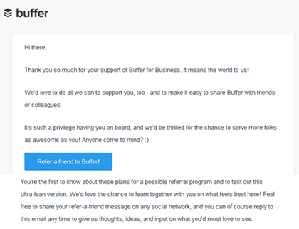 Buffer referral program