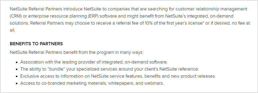 Netsuite referral program