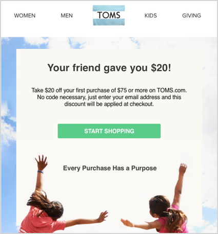 Toms Customer Referral Program